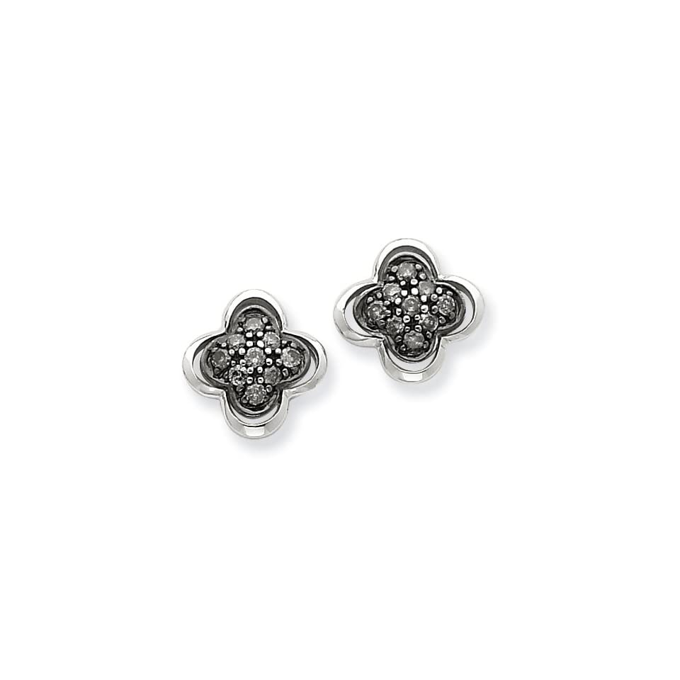 14K White Gold Black Diamond Post Earrings Diamond quality AA (I1 clarity, G I color)