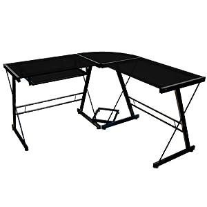 Walker Edison Soreno 3-Piece Corner Desk, Black with Black Glass by Walker Edison