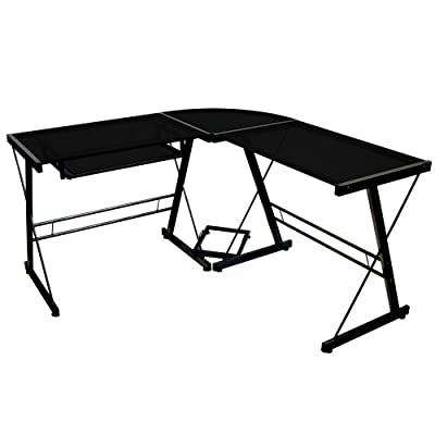 Walker Edison Soreno 3-Piece Corner Desk, Black with Black Glass by Walker Edison