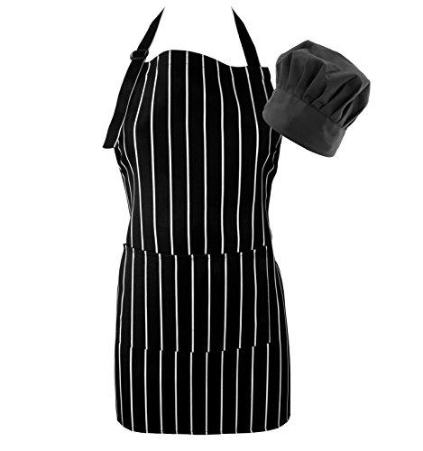 Chef's Apron & Hat Set for Kids, Black & White Pinstripe (2 Piece); Cooking Bib Apron & Cap Set for Children