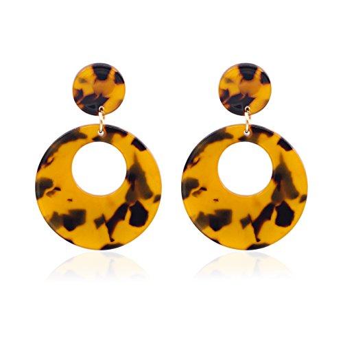 Shoopic Women Punk Acrylic Drop Earrings Geometry Resin Statement Pendant Earrings Stud - Acetate Resin