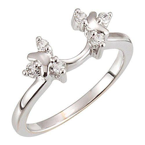 (DreamJewels 14k White Gold Plated Simulated Diamonds Station Solitaire Wrap Ring Guard Enhancer 1/8 ct 8)