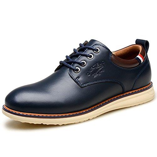 Mens Leder Freizeit Sehnen Schuhe Dress Herbst Business Hochzeit Mode Rutschen Schwarz Blau