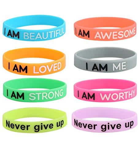 - Thunaraz 8PCS Motivational Silicone Wristbands Rubber Band Bracelets Assorted Colors Jewelry Gifts Inspirational Bracelets
