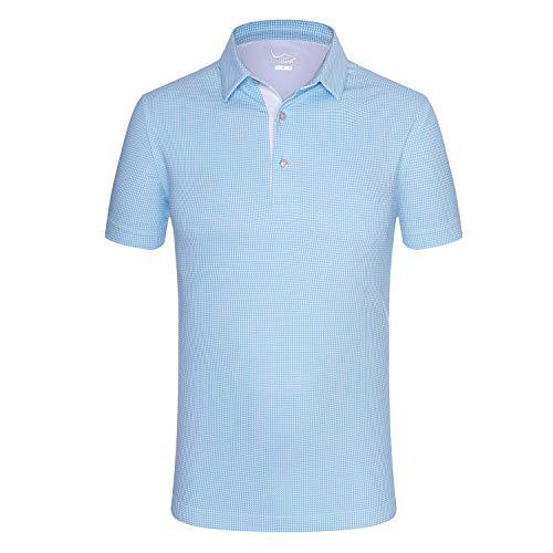 EAGEGOF Regular Fit Men's Shirt Stretch Tech Performance Golf Polo Shirt Short Sleeve S (Sky Blue Houndstooth)