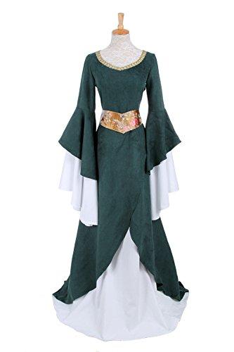 Arwen Deluxe Adult Costume (Nuoqi Women's Victorian Deluxe Costumes Gothic Dark Green Renaissance Dress)