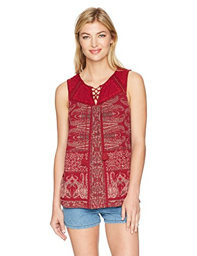 Lucky Brand Women's Printed Lace up Tank Top, Red/Multi, ...