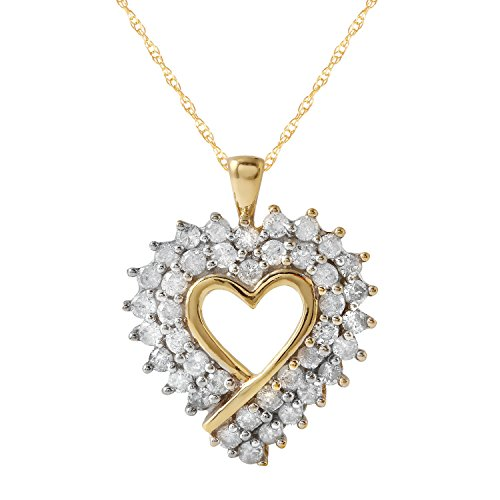 1 Carat Natural Diamond 10K Yellow Gold Heart Pendant Necklace for (1 Carat Diamond Heart Pendant)