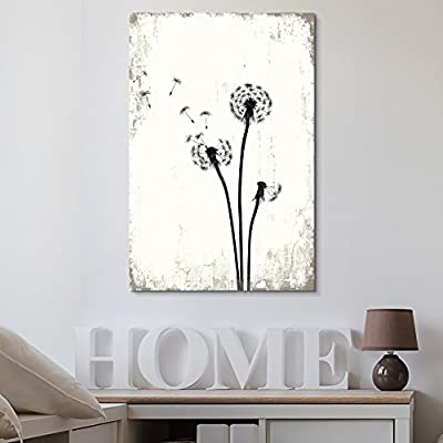 Dandelion Seeds on Rustic Background - Canvas Art Wall Art - 24
