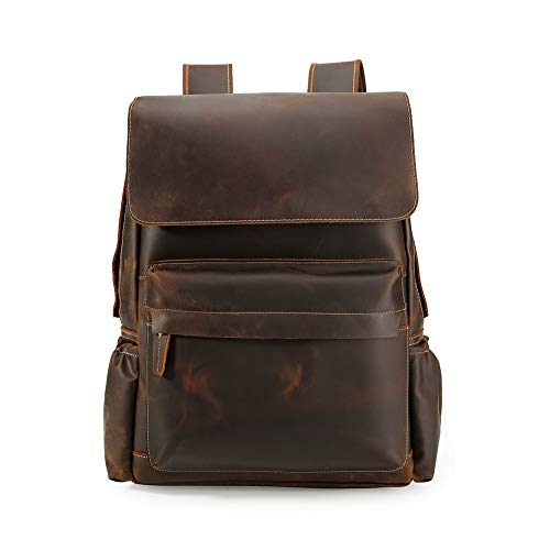 (Men's Vintage Classic Leather Casual School Travel Weekender 15.6 Inch Laptop Outdoor Sports Case Luggage Suitcase Daypack Overnight Backpack Shoulder Bag Brown)