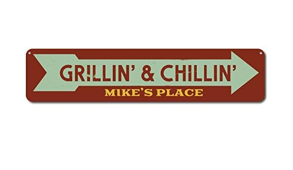 Grillin/' /& Chillin/' Sign Personalized Grill Master Arrow Sign ENSA1001700