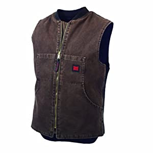 Tough Duck Men's Washed Quilt Lined Vest, Chocolate, Large
