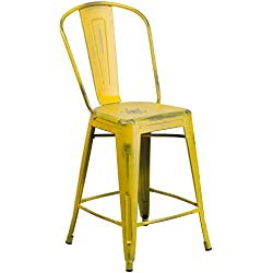 Flash Furniture 24'' High Distressed Yellow Metal Indoor-Outdoor Counter Height Stool with Back