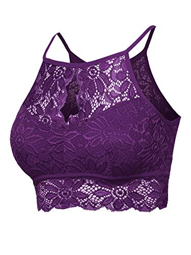 (Sexy Lace High Neck Bralette Top Plum M)