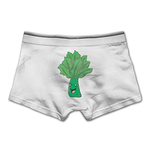 Rongyingst Men's Happy Spinach Vegetable Underwear Fashion Boxer Briefs Cotton Stretch Low Rise Trunks 3X White