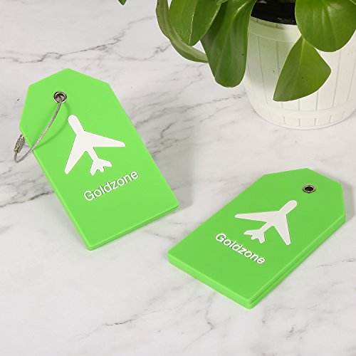 PVC Rubber Luggage Tags w/Full Privacy Flap,Great for Luggage Cases Identification by Goldzone (Green-4 Pack) by Goldzone (Image #4)