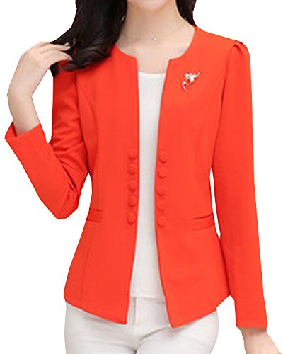 S&S Womens Plus Collarless Puff Sleeves Candy Double-breasted Suit Coat Jacket Open ()