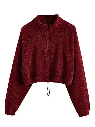 Verdusa Women's Long Sleeve Zipper Drawstring Crop Top Teddy Sweatshirt