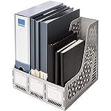 Deli Magazine File Book Holder Desktop Organizer Vertical Document Folder for Office Organization, 3 Compartments, White
