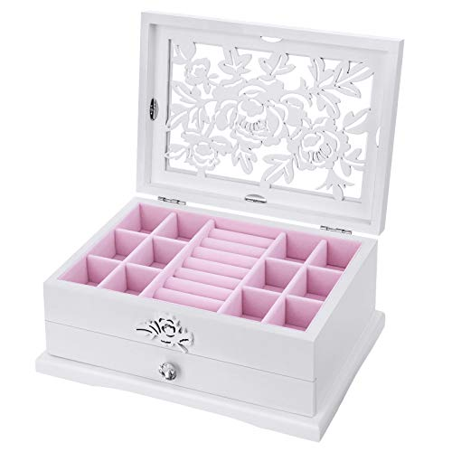SONGMICS Girls Jewelry Box Wooden Flower Carving Organizer Storage Case 2 Tier with Drawer DIY, White and Pink -