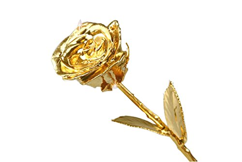 VintFlea 24K Gold Real Rose Long Stem, Heart Shape Stand With Creative Box For Valentine Anniversary Gift With - Shape Mirror Heart