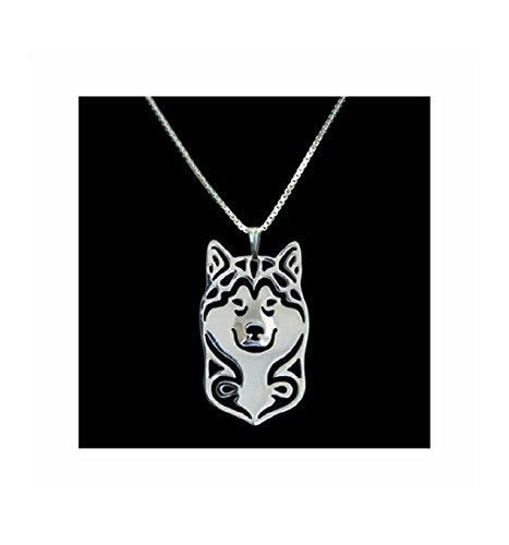 Alaskan Malamute Husky Necklace Pendant Silver-Tone