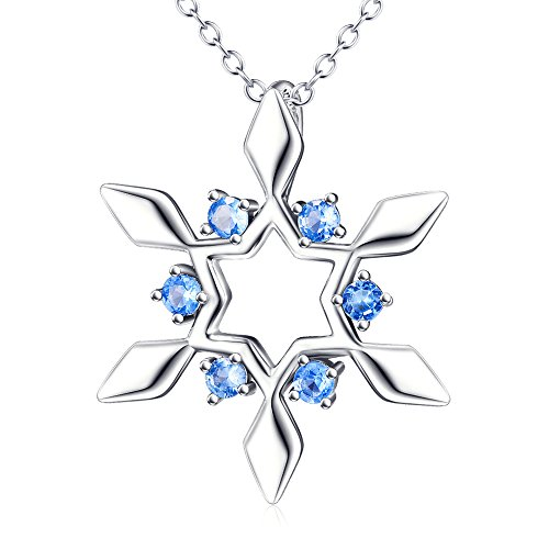Christmas Holiday Jewelry, 925 Sterling Silver Snowflake Blue Tone CZ Pendant Necklace, Rolo Chain 18