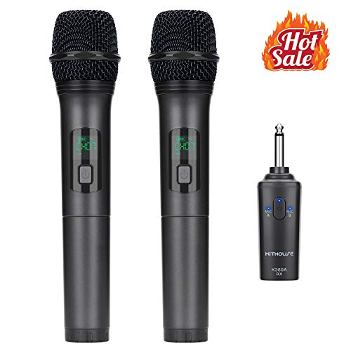 (Kithouse K380A Wireless Microphone Karaoke Bluetooth Microphone Wireless With Rechargeable Receiver System - UHF Dual Handheld Dynamic Mic Set For Karaoke Singing Speech Church (Elegant Black))