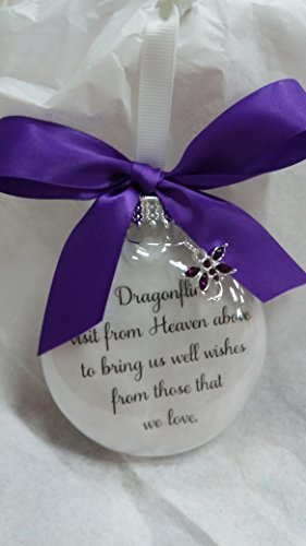 (Dragonfly Memorial Christmas Ornament Gift - Dragonflies visit from Heaven - w/Purple Crystal)