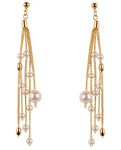Earrings Indian Designer (Touchstone New Indian Bollywood Trendy Fashion Faux Pearls Designer Jewelry Earrings in Gold Tone for Women)