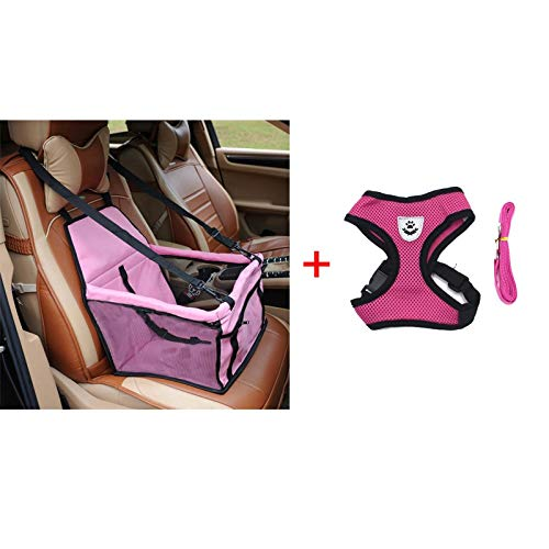 D-4PET Pet Harness&Leash - pawstrip 4 Colors Pet Dog Booster Seat Pet Safety Belt Car Dog Seat Belt S-XL Pet Dog Harness Vest Small Dog Leash Harness Set
