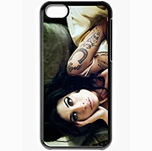 Personalized iPhone 5C Cell phone Case/Cover Skin Amy Winehouse Girl Tattoo Sofa Look Black