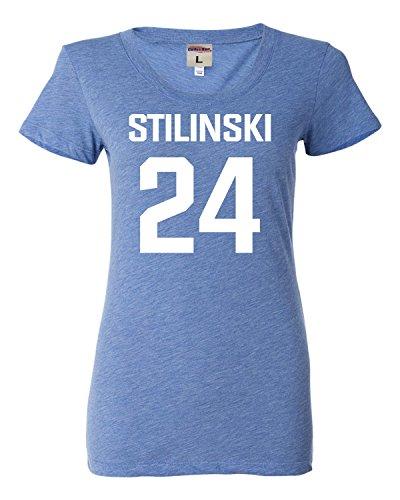 Small Blue Womens Stilinski LaCrosse #24 Tri-Blend T-shirt