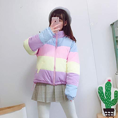 Rainbow Da Clothing Parka Winter Splicing Fxchen Imbottito Stripe Fluffy Caldo Donna Cappotto Corto M Femme wxYqTRH