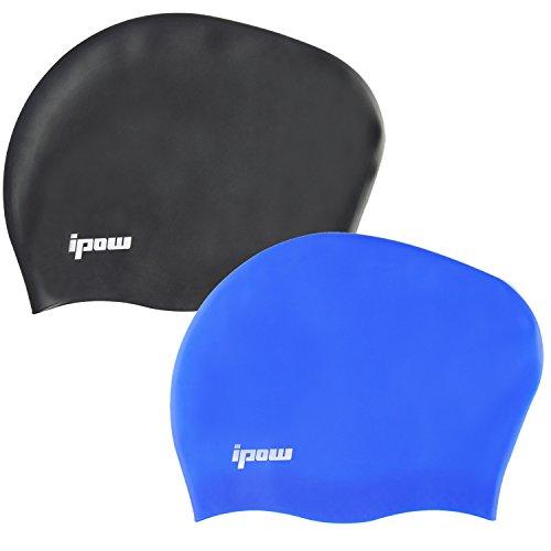 Ipow 2-Stück Hochwertige Silikon Badekappe Bademütze Badehaube für lange Haare gesund und warm Swim Cap (Schwarz + Blau)