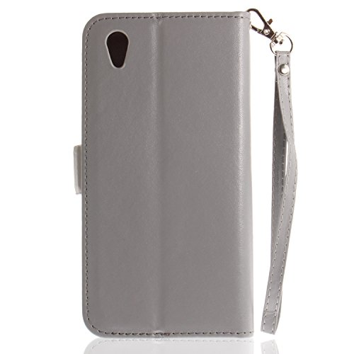 Handytasche für Sony Xperia L1 Hülle, Bunt Schmetterling Elegant Lederhülle für Sony Xperia L1, ZCRO Tasche Brieftasche Design Handyhülle für Sony Xperia L1, Schutzhülle Flip Case Cover Premium Kunstl Grau