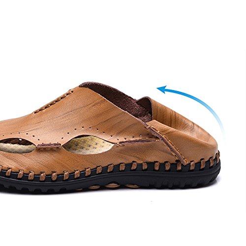 Dark Light ciabattine Color Sandali traspiranti pelle 3 EU uomo estive sandali traspiranti regolabili in Brown sandali 41 brown da Size 1 Hq7SFB