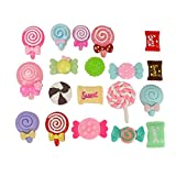 HUELE 50pcs Slime Charms Mix Candy Sweets DIY Flatbacks Resin Flat Back Buttons for DIY Scrapbooking