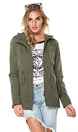 Amazon.com: SOHO GLAM Hooded Parka Coat In Olive and Black (Plus ...