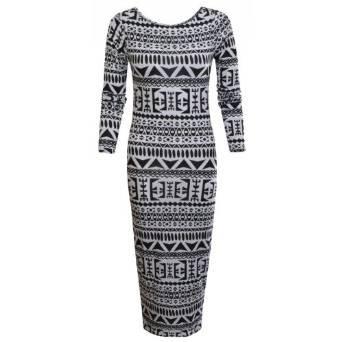 Women/'s Ladies Aztec Body con Dress Black /& white Skull Print Dresses New