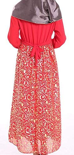 túnica de tamaño del de una de la Extra del musulmán Gasa Phelion Largo árabe tamaño la Vestido T línea Pequeña Line de Color Rojo Túnica Grande Mujeres Las xAAaWn6