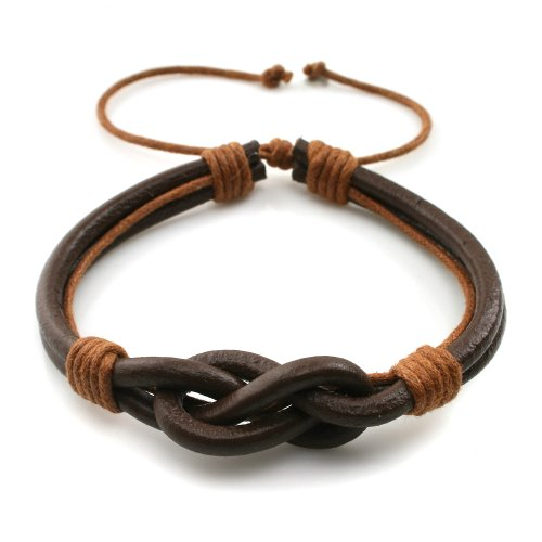 JewelrieShop Young and Cool Handmade Countryside Style Genuine Real Leather Braid Infinity Lock Bracelet,Adjustable
