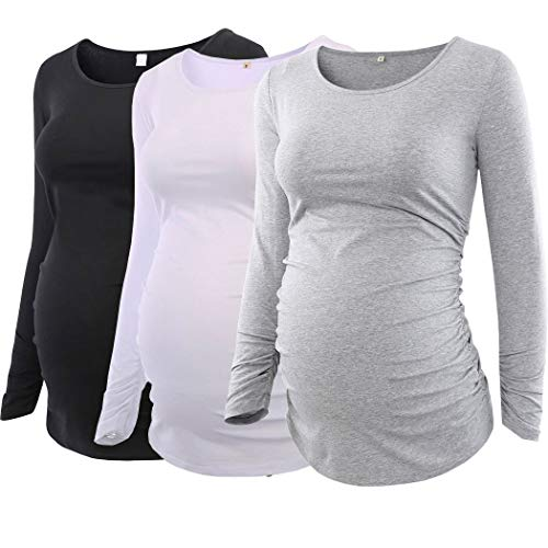 Ecavus Pack 3pcs Women's Maternity Tunic Tops Flattering Side Ruched Pregnancy Shirt