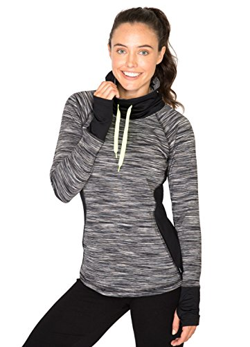 RBX Active Women's Fleece Lined Multi Space Dye Blocked Pullover Cowl Neck Top Black/White Combo M (Space Dye Pullover compare prices)