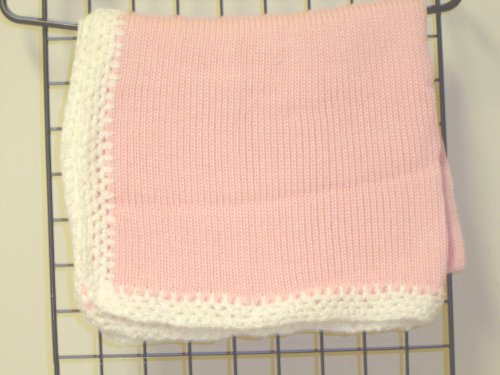 "Bk641, Knitted on Hand Knitting Machine Raspberry Chenille 31"" By 45"" Blanket Trimmed By Hand Crochet with White Chenille for Newborns and Infants by Gita"