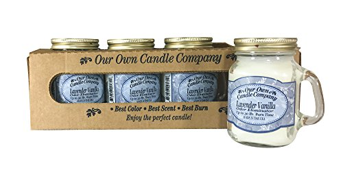 Our Own Candle Company Lavender Vanilla Scented Mini Mason Jar Candle, 3.5 Ounce (4 Pack)