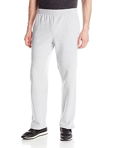 Cotton Blend Sweatpants (Fruit of the Loom Men's Pocketed Open-Bottom Sweatpant, Athletic Heather Large)
