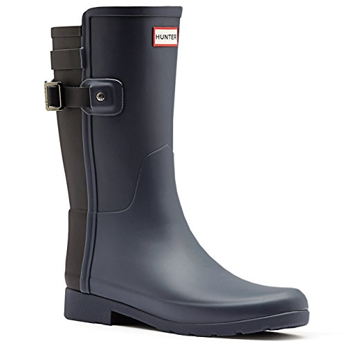 Hunter Womens Original Refined Back Strap Short Wellingtons Rain Boots - Dark Slate/Black - (Hunter Wellington Rubber Boots)