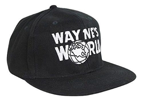 Mens Adjustable Black Baseball Cap Wayne's World Hat New
