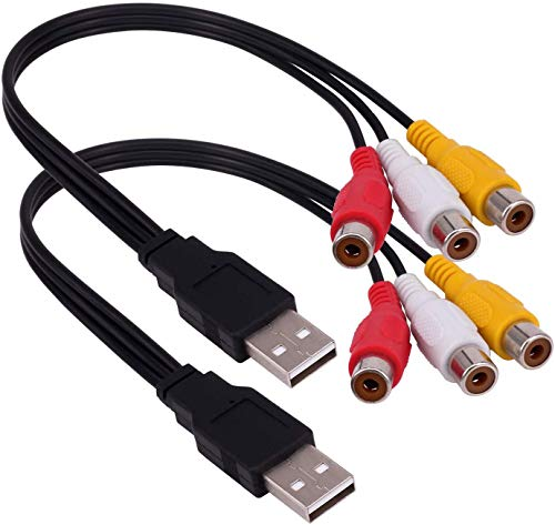 (2-Pack) USB to 3RCA Cable, USB A 2.0 Male to...